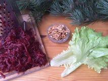 Beets walnut goji berries salad. Vegetarian healthy food Stock Image