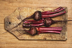 Beets on wooden table. Beets on wooden table, studio shot Royalty Free Stock Images