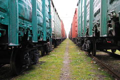Beetween two freight trains Stock Image