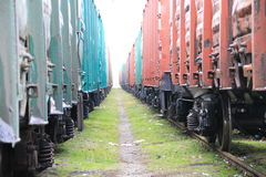 Beetween two freight trains Royalty Free Stock Images