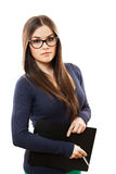 Beeutiful human resources manager. Portrait of a young beautiful business woman isolated on white background Royalty Free Stock Photos