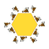 Bees frame for text. Vector abstract bee and honeycomb banner. Stylized bezzy infographic element. Stock Image