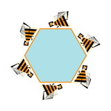 Bees frame for text. Vector abstract bee and honeycomb banner. Stylized bezzy infographic element. Stock Photography