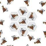 Beez y modelo inconsútil de los panales Fondo abstracto del vector de la abeja Textura colorida del zumbido estilizado para el pa Fotos de archivo libres de regalías