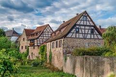Befästningar av Bergheim, Alsace, Frankrike Arkivbild