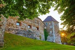 Befästningen av den Ljubljana slotten på soluppgång Arkivbilder