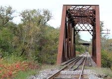 Befördern Sie Brücke mit neuer Straßen-Brücke hinter ihr mit dem Zug lizenzfreie stockbilder