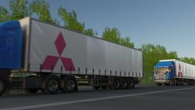 Befördern Sie halb LKWs mit Mitsubishi-Logo, das entlang Waldweg fährt Redaktionelle Wiedergabe 3D Stockfotografie