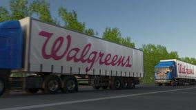 Befördern Sie halb LKWs mit Walgreens-Logo, das entlang Waldweg fährt Redaktionelle Wiedergabe 3D Stockbild