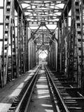 Befördern Sie Länge über dem Fluss auf Stahlbrücke mit der Eisenbahn Lizenzfreie Stockfotos