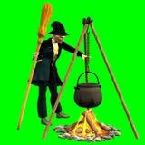 Befana-Absicht auf der Schaffung von magischen Zubereitungen vektor abbildung