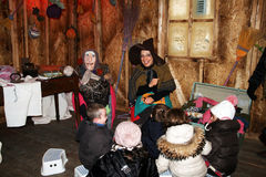 Befana and children Royalty Free Stock Photo