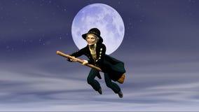 Befana en la escoba del vuelo en el fondo de la Luna Llena foto de archivo