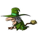 Befana oder eine Hexe auf einem Besenstiel Stockfoto