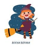 Buona Befana greeting cards with flying Befana on a broom. Italian Christmas tradition. Befana sitting on a broomstick. Ugly witch. Italian Christmas tradition vector illustration