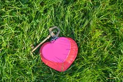 Befestigen Sie mit zwei Herzen ein Symbol der Liebe auf dem Grashintergrund Stockfotos