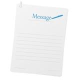 Befestigte Papiere mit Meldungplan Lizenzfreie Stockbilder