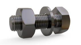 Befestigung der Ausrüstung Ein Satz Metallbefestiger Unterrichtendes Bild von Schraub-Verbindungselementen von den Bolzenmuttern  vektor abbildung