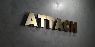 Befestigung - Goldzeichen angebracht an der glatten Marmorwand - 3D übertrug freie Illustration der Abgabe auf Lager vektor abbildung