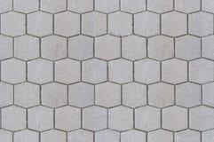 Befestigungsbeschaffenheits-Hintergrundabschluß oben/Hexagonmusterzementbürgersteig stockbild