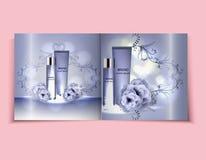 Befeuchtende Gesichtscreme-Paketkosmetik entwerfen, Anzeigen, Schablonen für Broschürendesign der Draufsicht des Designs hellblau Lizenzfreie Stockfotografie