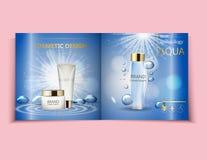 Befeuchtende Gesichtscreme-Paketkosmetik entwerfen, Anzeigen, Schablonen für Broschürendesign der Draufsicht des Designs hellblau Stockfotografie