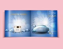Befeuchtende Gesichtscreme-Paketkosmetik entwerfen, Anzeigen, Schablonen für Broschürendesign der Draufsicht des Designs hellblau stock abbildung