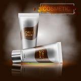 Befeuchtende kosmetische Illustration der Anzeigenschablone 3D eines kosmetischen Plans stock abbildung