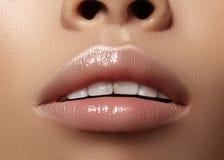 Befeuchtender Lippenbalsam, Lippenstift Schöne sexy nasse Lippen der Nahaufnahme Volle Lippen mit Glanzlippenmake-up Füllereinspr lizenzfreies stockbild