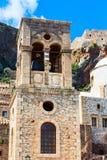 Beffroi de Monemvasia et église, Péloponnèse, Grèce image libre de droits