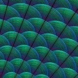 Befjädra utformad bakgrund med krökta linjer som utformas som exotisk fågelfjäderdräktmodell Arkivbilder
