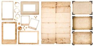Befläcker åldriga använt pappers- arkkaffe för fotoet ramar urklippsboken Arkivfoton