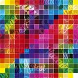 befläckt exponeringsglas Design av en sömlös modell: kulöra fyrkanter med text Arkivfoto
