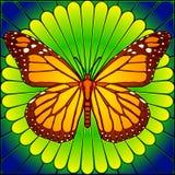 befläckt glass monark vektor illustrationer