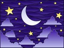 befläckt glass natt stock illustrationer