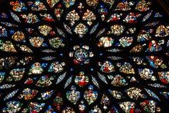 befläckte glass paris för chapelle sainte Fotografering för Bildbyråer