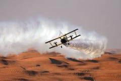 Beflügeln Sie Wanderer auf einem Doppeldecker über der Wüste Stockbilder