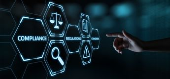 Befolgung ordnet Gesetzesvorgeschriebenes Politik-Geschäfts-Technologiekonzept an lizenzfreie stockfotos