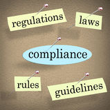 Befolgung ordnet Regelungs-Gesetzesrichtlinien-Anschlagbrett an Stockfoto