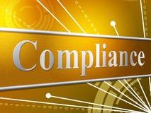 Befolgungs-Vereinbarung zeigt an, dass Gehorsam einwilligen und zustimmen Lizenzfreies Stockbild