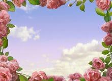 与玫瑰的装饰 免版税库存照片