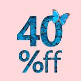 befordran för 40% rabattförsäljning Begreppet av den stilfulla affischen, baner, annonser Arkivbild