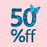 befordran för 50% rabattförsäljning Begreppet av den stilfulla affischen, baner, annonser Royaltyfri Bild