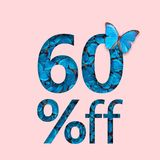 befordran för 60% rabattförsäljning Begreppet av den stilfulla affischen, baner, annonser Royaltyfri Fotografi