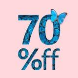 befordran för 70% rabattförsäljning Begreppet av den stilfulla affischen, baner, annonser Royaltyfri Bild