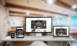 Befordran för studio för rengöringsdukdesign på åtskilliga apparater Fotografering för Bildbyråer