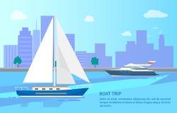 Befordrings- affisch för fartygtur med moderna skyttlar stock illustrationer