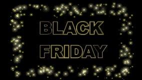 Befordrings- baner för Black Friday försäljning med sparky effekter på svart bakgrund 4K royaltyfri illustrationer