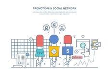 Befordrings- i socialt nätverk Massmediakommunikationer, planläggning, digital marknadsföring, advertizing Arkivfoto