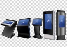 Befordrings- växelverkande kiosk för information som fem annonserar skärm, slutlig ställning, pekskärmskärm stock illustrationer